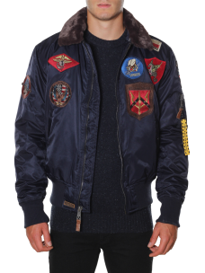 Giubbotto Top Gun Bomber in Nylon Patch Collo Pelliccia 51669